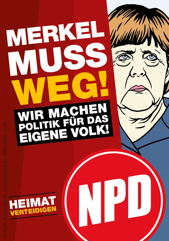 Npd Materialdienst Aufkleber Merkel Muss Weg
